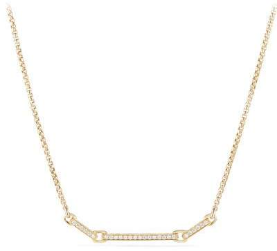 David Yurman Petite Pave Diamond Bar Necklace in 18k Yellow Gold