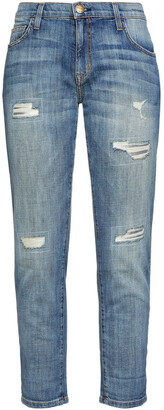 Current/Elliott The Fling Cropped Distressed Mid-rise Boyfriend Jeans