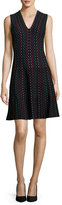 Kate Spade Sleeveless Striped Fit-And-Flare Sweaterdress, Black/Multicolor