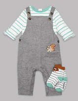 Autograph 3 Piece Bodysuit & Dungaree with Socks Outfit