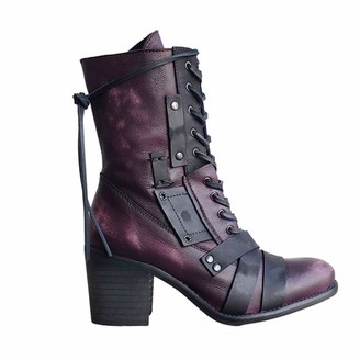 Chungker heel Lace-up Boots Winter High Heel Ankle Boots Leather Vintage Boots Ladies Biker Boots for Women (Purple 37)