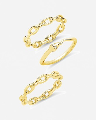 Express Sterling Forever Set Of 3 Chain & Snake Stackable Rings