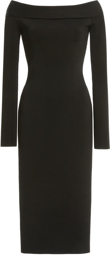 Victoria Beckham Bardot Knit Off-The-Shoulder Midi Dress