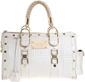 Gianni Versace Versace White Quilted Leather Snap Out Of It Satchel