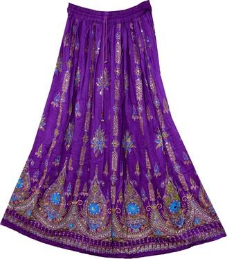 Fashion of India Women's Long Bohemian Maxi Skirt - Gypsy Hippie Boho Chic Style Dress - Purple - Regular