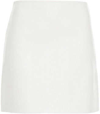 Tibi Faux Lizard-effect Leather Mini Skirt