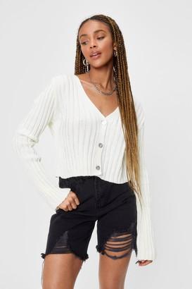 Nasty Gal Womens V-Neckline Chunky Knit Cardigan - Ecru
