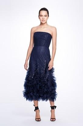 Marchesa Notte Strapless Textured Glitter Tulle Tea Dress
