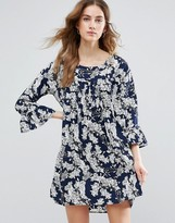 Vila Smock Dress In Floral Print