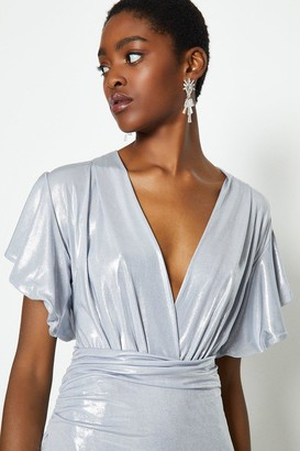 Coast Metallic Angel Sleeve Wrap Dress