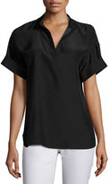 Lafayette 148 New York Short-Sleeve Candra Matte Silk Blouse