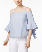 Kensie Cotton Ruffled Cold-Shoulder Top