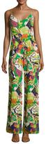 Trina Turk Zadie Silk Printed Wide Cuff Jumpsuit