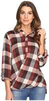 Blank NYC Multi Plaid Drape Front Shirt in Whiskey Brown