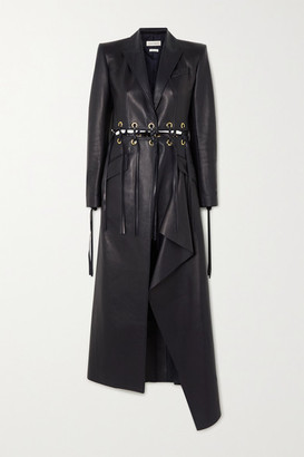 Alexander McQueen Fringed Eyelet-embellished Leather Coat - Navy