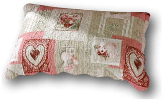 Tache Home Fashion Tache Dainty Sweetheart Cottage Floral Hearts Scalloped Quilted Pillow