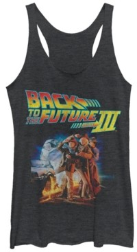Fifth Sun Back To The Future Three Group Pose with Car Tri-Blend Racer Back Tank