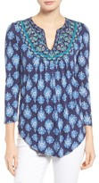 Lucky Brand Women's Embroidered Bib Print Knit Top