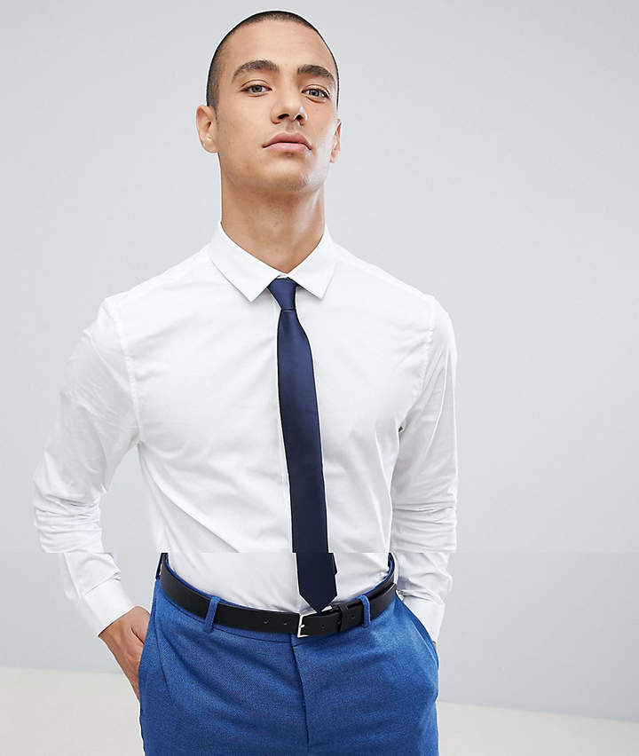 Asos Skinny Shirt In White With Navy Tie Save
