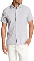 Toscano Short Sleeve Linen Blend Print Regular Fit Woven Shirt