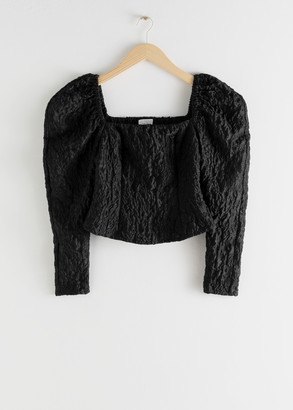 And other stories Square neck jacquard top