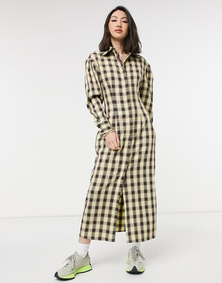 Lost Ink full maxi shirt dress in vintage check