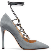 Valentino Rockstud Lace-up Suede And Leather Pumps - Stone