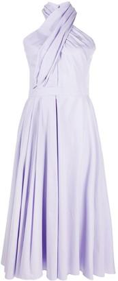 Alexander McQueen Crossover Neck Midi Dress