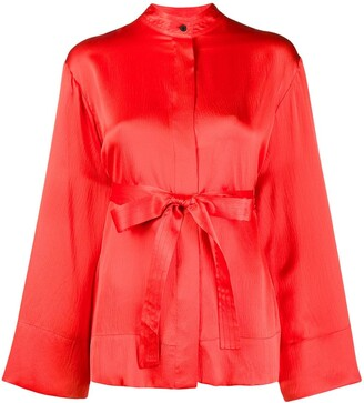 McQ Swallow Wide Sleeves Belted Silk Blouse