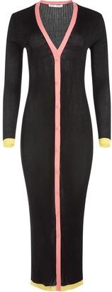 Alice + Olivia Aria contrast-strimmed long cardi-coat