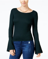 chelsea sky Ribbed Bell-Sleeve T-Shirt, Only at Macy's