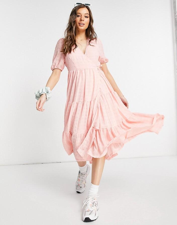 Monki Yosse textured wrap midi dress in pink