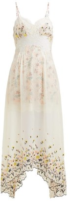 Paco Rabanne Floral-embroidered Chiffon And Satin Dress - Womens - White Multi
