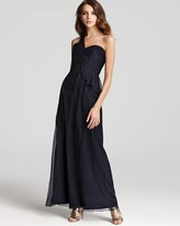 Amsale One Shoulder Dress - One Sided Peplum