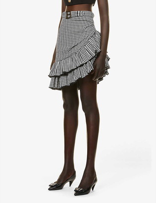 Balmain Ruffled high-waist cotton-blend midi skirt