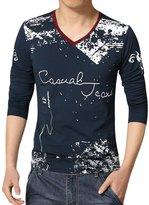 uxcell® Men V Neck Novelty Print Long Sleeves Slim Fit T-Shirt M