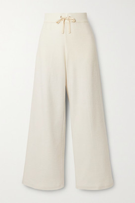 James Perse Brushed Waffle-knit Cotton And Cashmere-blend Wide-leg Pants - Beige