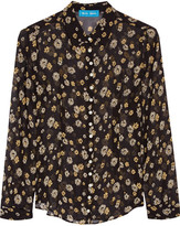 MiH Jeans Printed Silk-georgette Shirt - Black
