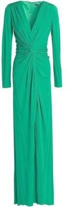 Badgley Mischka Twist-front Jersey Gown