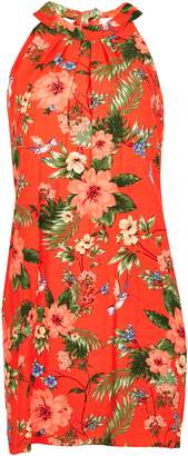 Wallis PETITE Coral Floral Print Shift Dress