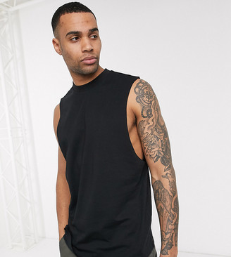 ASOS DESIGN Tall organic relaxed sleeveless t-shirt with dropped armhole in black