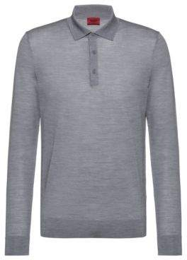 HUGO Slim-fit polo-neck sweater in a Merino wool blend