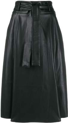 Blanca faux-leather A-line skirt