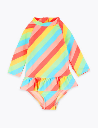 Marks and Spencer Rainbow Frill Long Sleeve Swimsuit (2-7 Years)