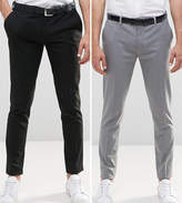 Asos 2 Pack Super Skinny Smart Trousers In Black And Grey Save