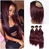 Tony Beauty Hair Wine Red Pre Plucked 360 Full Lace Frontal Closure Pure #99J Color With 3 Bundles Silky Straight Burgundy Red Peruvian Human Hair Weaves With 360 Band Lace Closure (20 with 24 24 24)