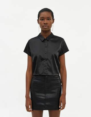 Which We Want Women's Isla Cropped Button Up Shirt in Black, Size Small | Spandex
