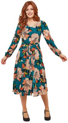Joe Browns Flared Mid-Length Dress in Floral Print with Long Sleeves and V-Neck
