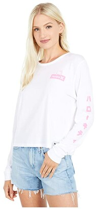 Hurley Hello Kitty(r) Perfect Long Sleeve (White) Women's Clothing