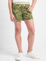 Print shimmer-waist twill shorts